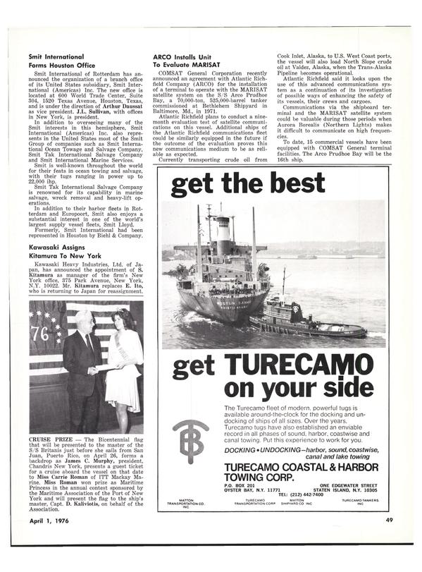 Maritime Reporter Magazine, page 49,  Apr 1976