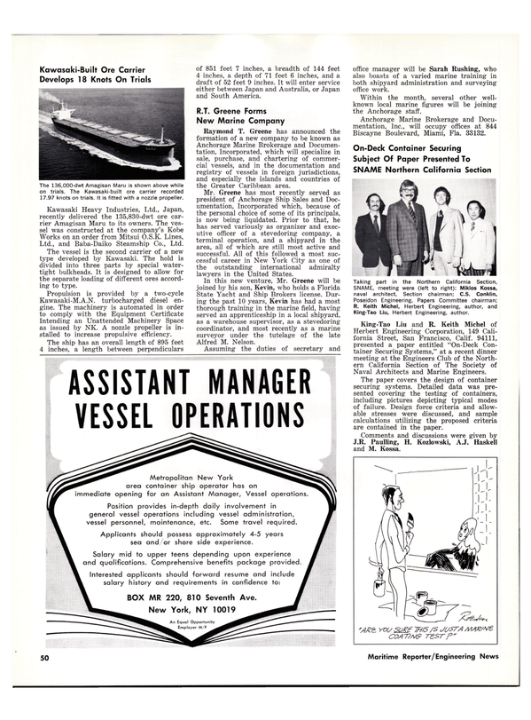 Maritime Reporter Magazine, page 50,  Apr 1976