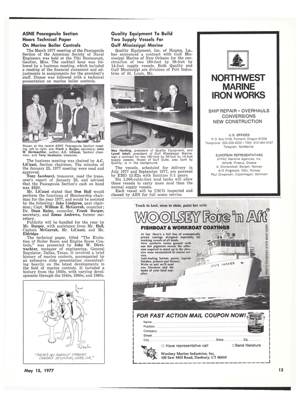 Maritime Reporter Magazine, page 13,  May 15, 1977