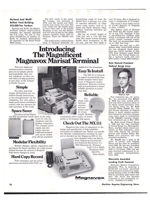 Maritime Reporter Magazine, page 14,  Jul 15, 1977