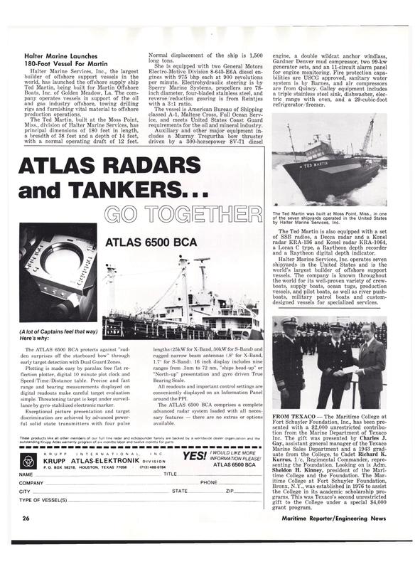 Maritime Reporter Magazine, page 24,  Aug 1977