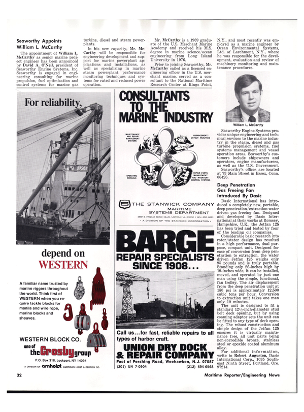 Maritime Reporter Magazine, page 30,  Aug 1977
