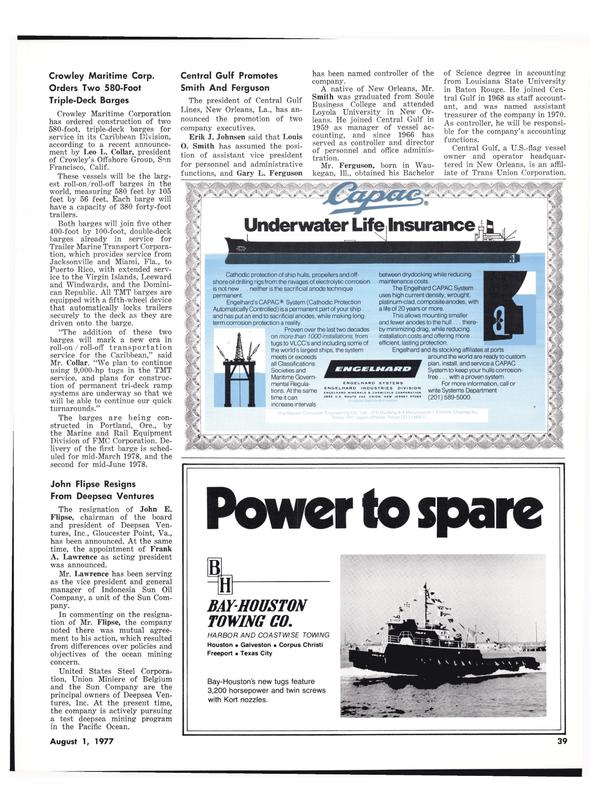 Maritime Reporter Magazine, page 37,  Aug 1977