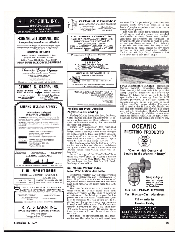 Maritime Reporter Magazine, page 47,  Sep 1977