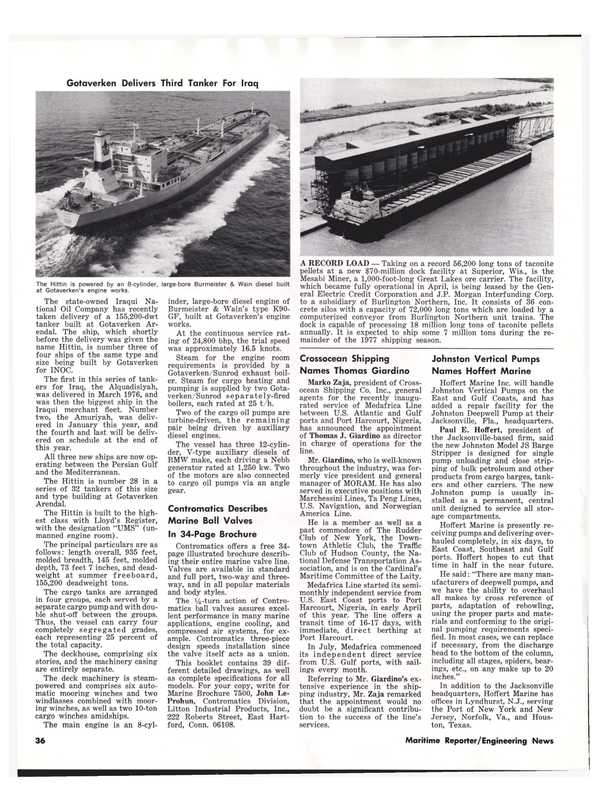 Maritime Reporter Magazine, page 34,  Oct 15, 1977