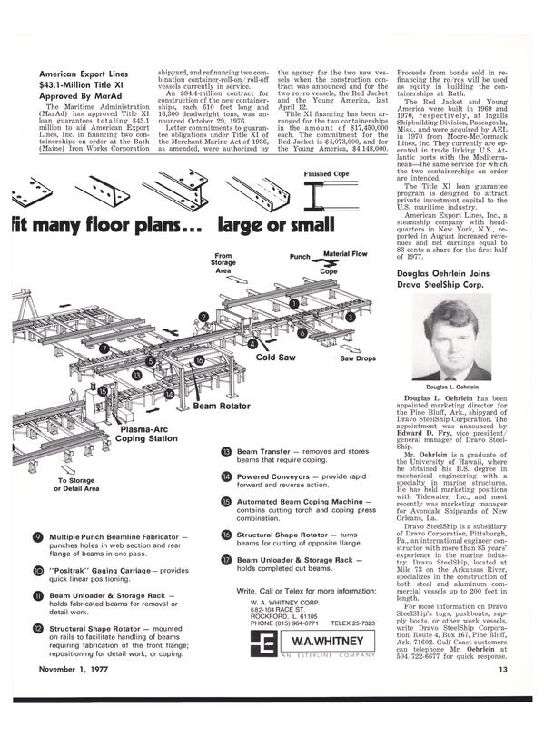 Maritime Reporter Magazine, page 13,  Nov 1977 Hawaii