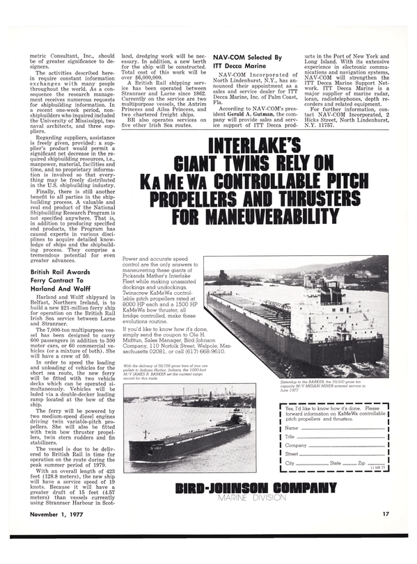 Maritime Reporter Magazine, page 17,  Nov 1977
