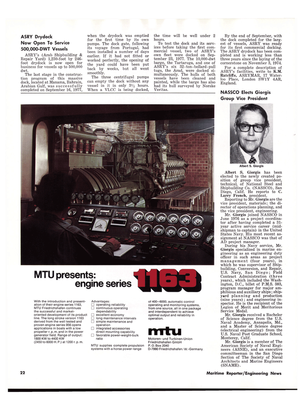 Maritime Reporter Magazine, page 22,  Nov 1977