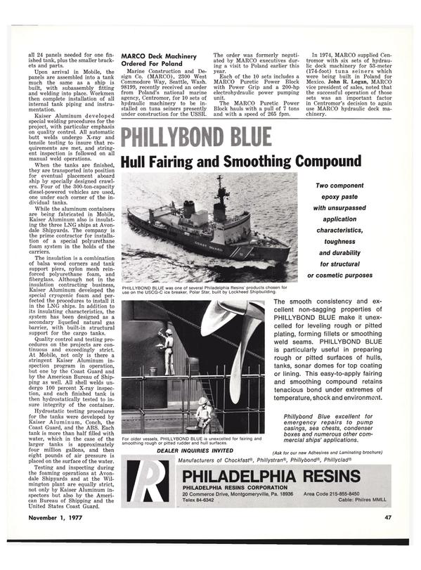 Maritime Reporter Magazine, page 47,  Nov 1977