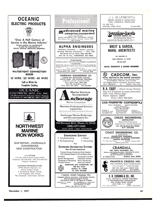 Maritime Reporter Magazine, page 67,  Nov 1977