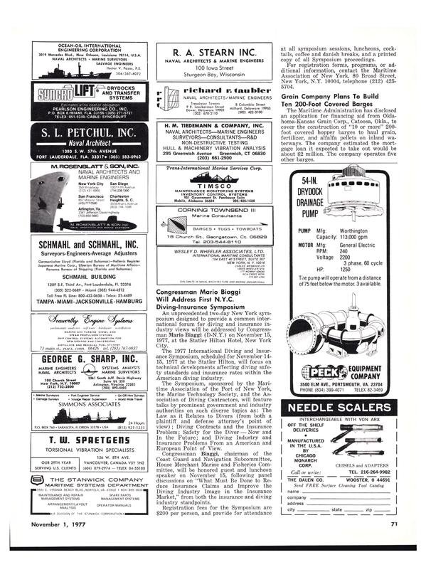 Maritime Reporter Magazine, page 71,  Nov 1977