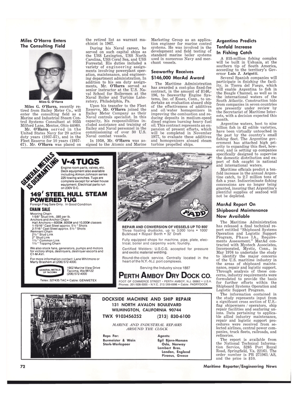 Maritime Reporter Magazine, page 72,  Nov 1977