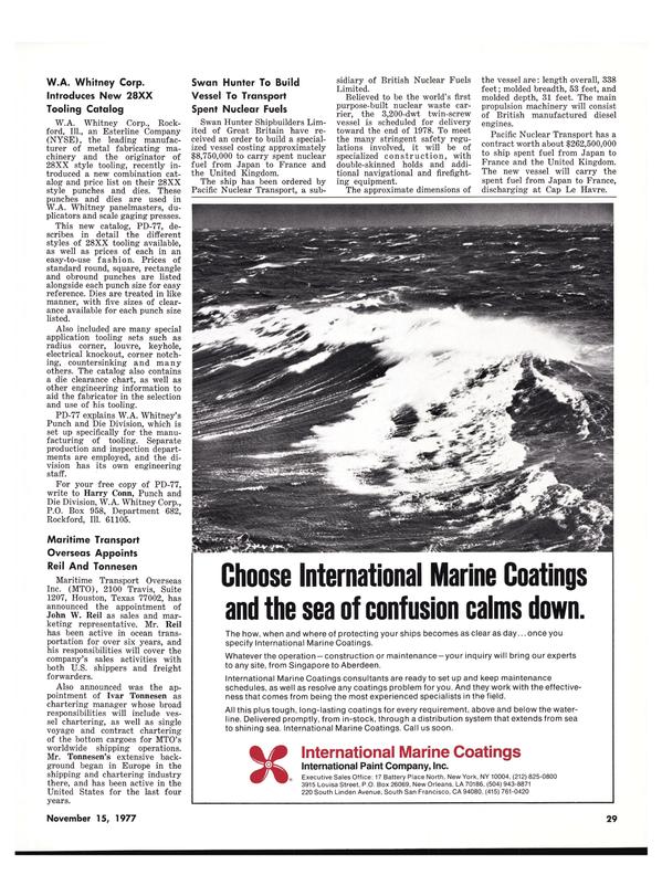 Maritime Reporter Magazine, page 27,  Nov 15, 1977