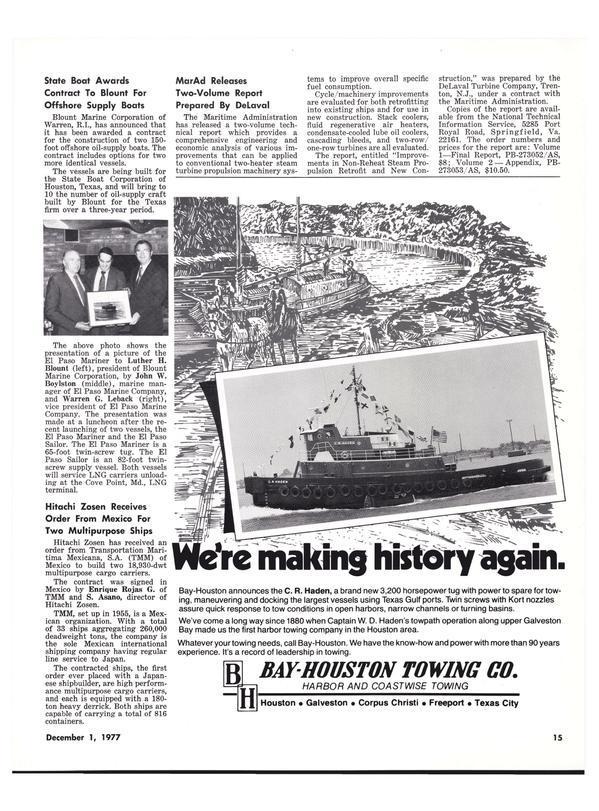 Maritime Reporter Magazine, page 13,  Dec 1977