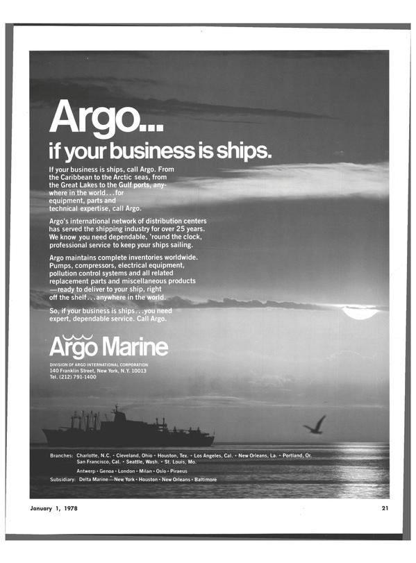 Maritime Reporter Magazine, page 19,  Jan 1978 New York