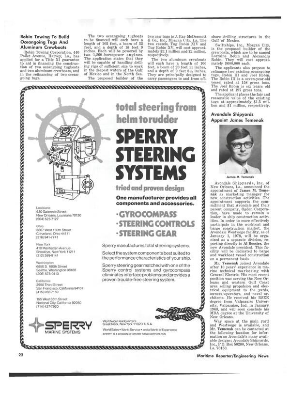 Maritime Reporter Magazine, page 20,  Jan 1978 Indiana