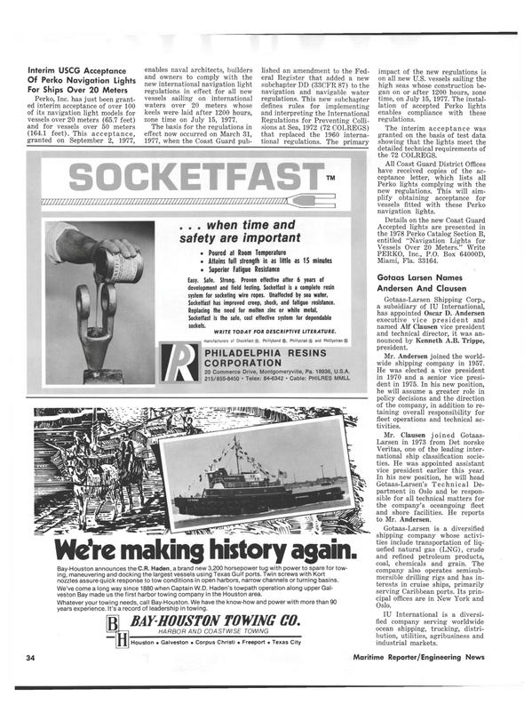 Maritime Reporter Magazine, page 32,  Jan 1978