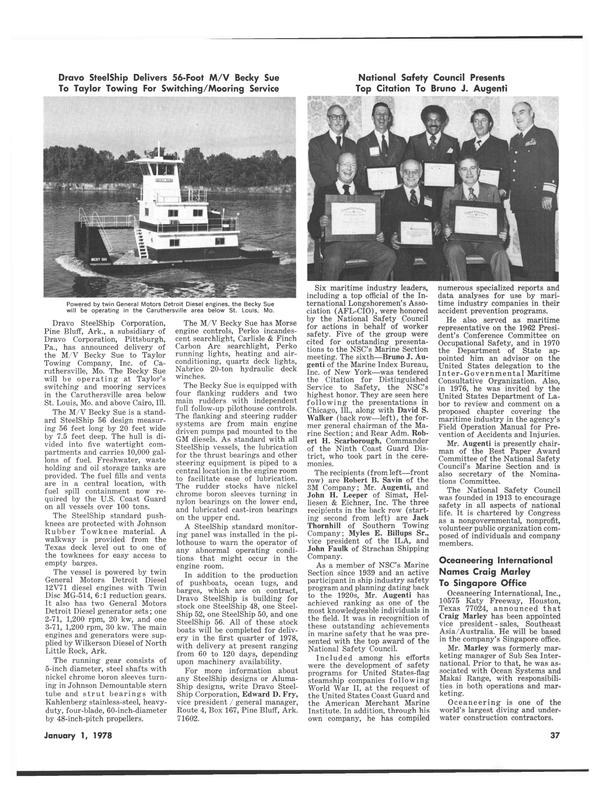 Maritime Reporter Magazine, page 35,  Jan 1978 Johnson Rubber Towknee