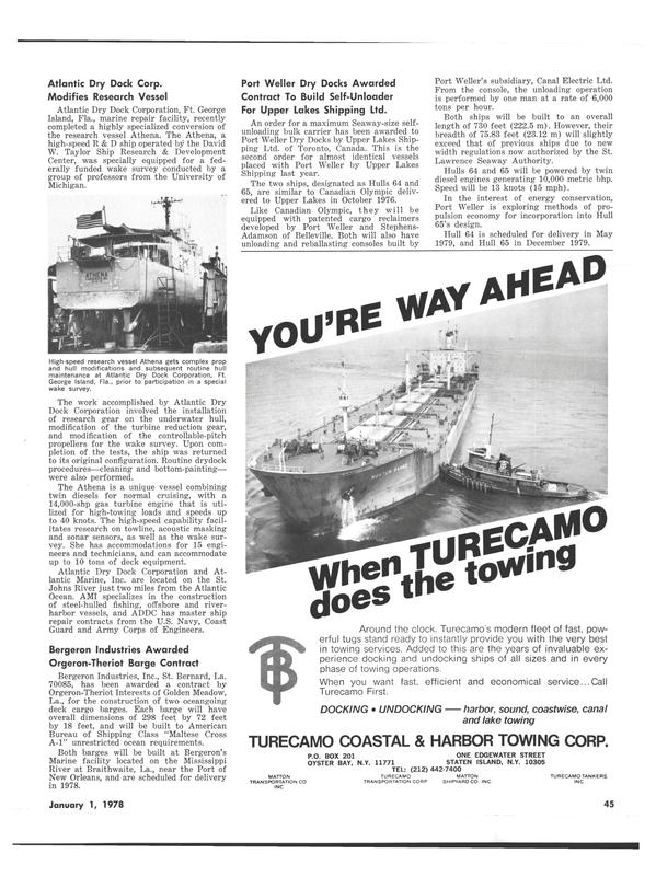 Maritime Reporter Magazine, page 43,  Jan 1978 David W. Taylor