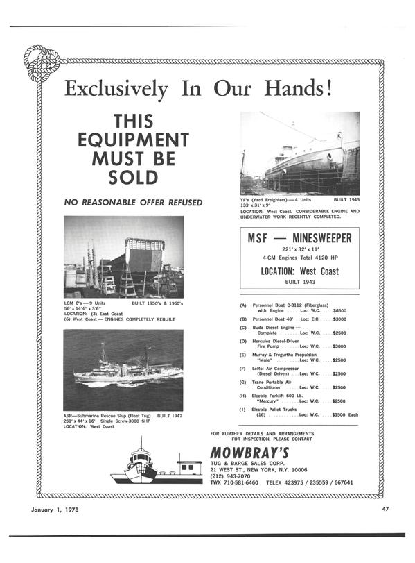 Maritime Reporter Magazine, page 45,  Jan 1978 Hercules