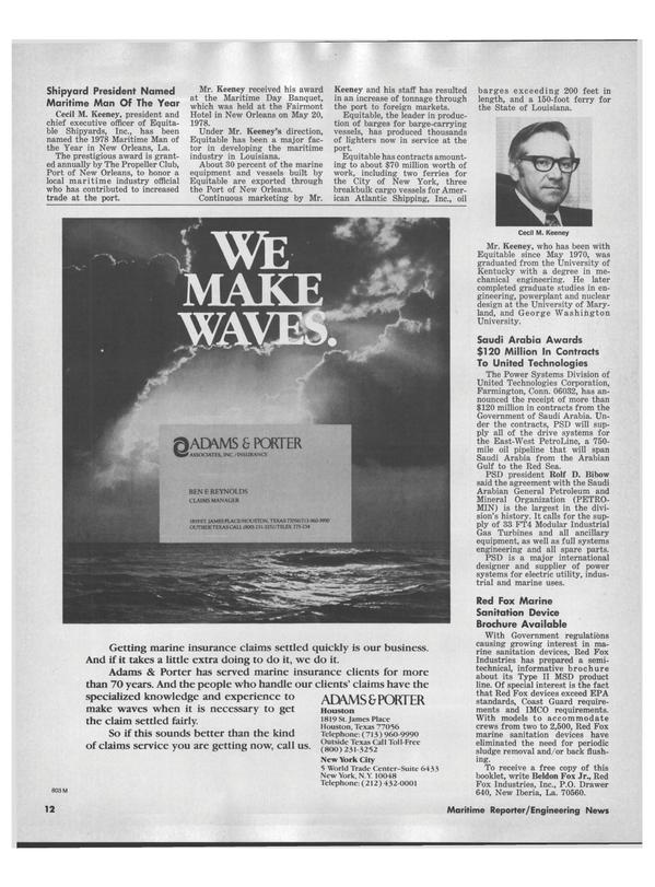 Maritime Reporter Magazine, page 10,  Jul 15, 1978