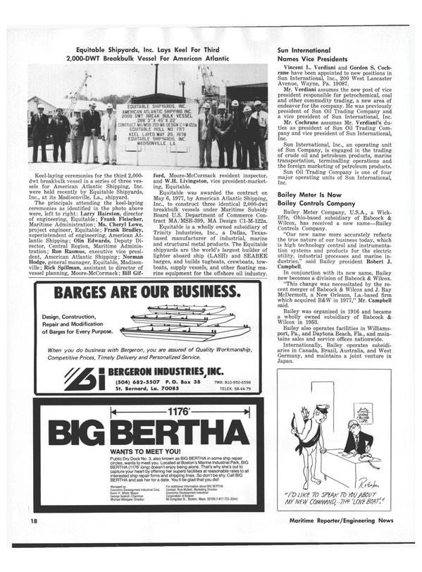 Maritime Reporter Magazine, page 16,  Jul 15, 1978