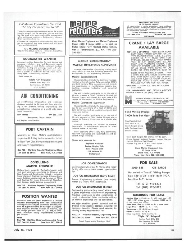 Maritime Reporter Magazine, page 41,  Jul 15, 1978