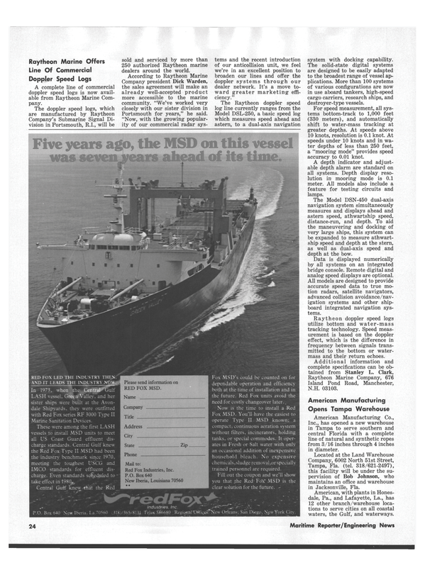 Maritime Reporter Magazine, page 20,  Aug 15, 1978
