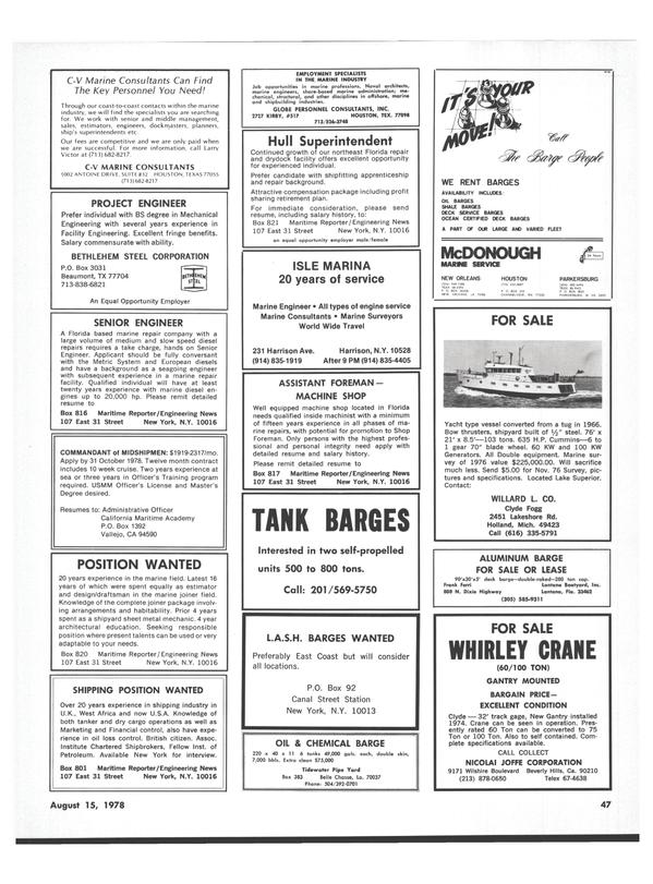 Maritime Reporter Magazine, page 43,  Aug 15, 1978
