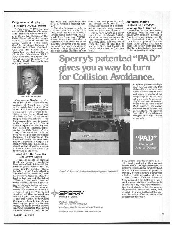 Maritime Reporter Magazine, page 7,  Aug 15, 1978