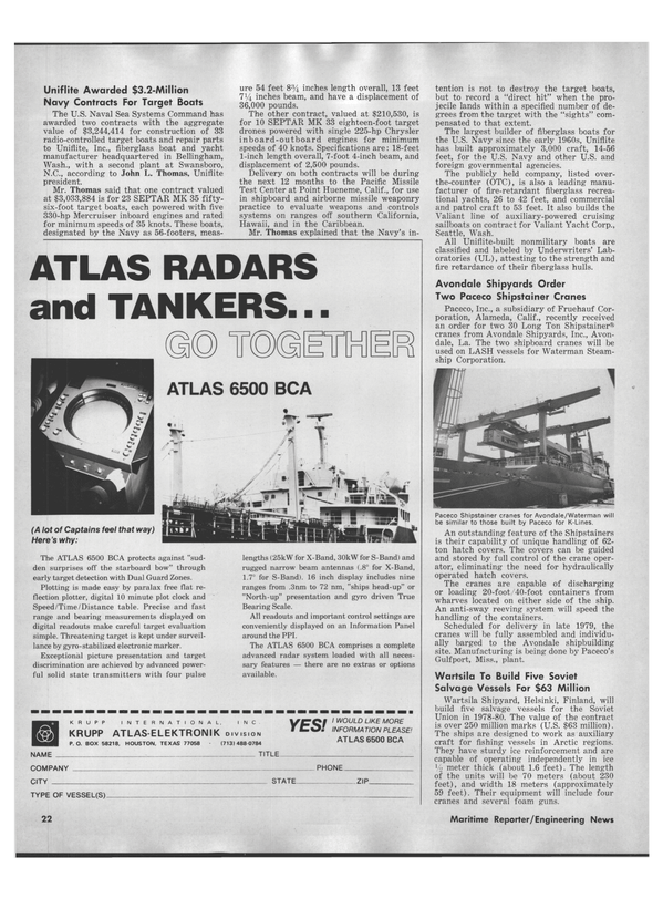 Maritime Reporter Magazine, page 20,  Sep 1978