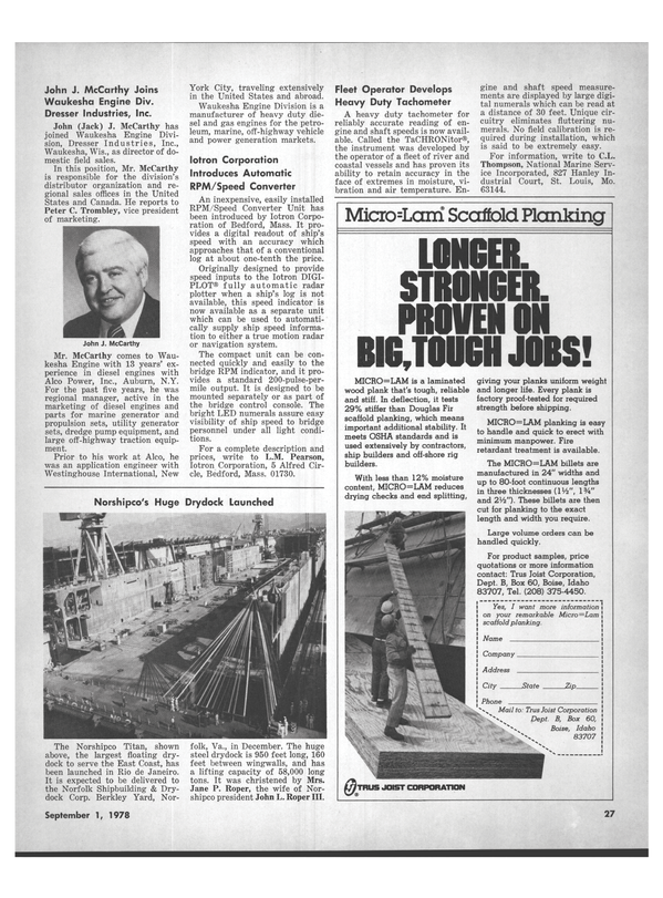 Maritime Reporter Magazine, page 25,  Sep 1978