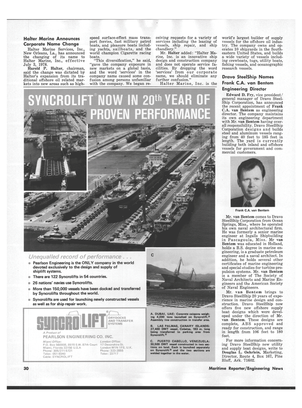 Maritime Reporter Magazine, page 28,  Sep 1978 Florida