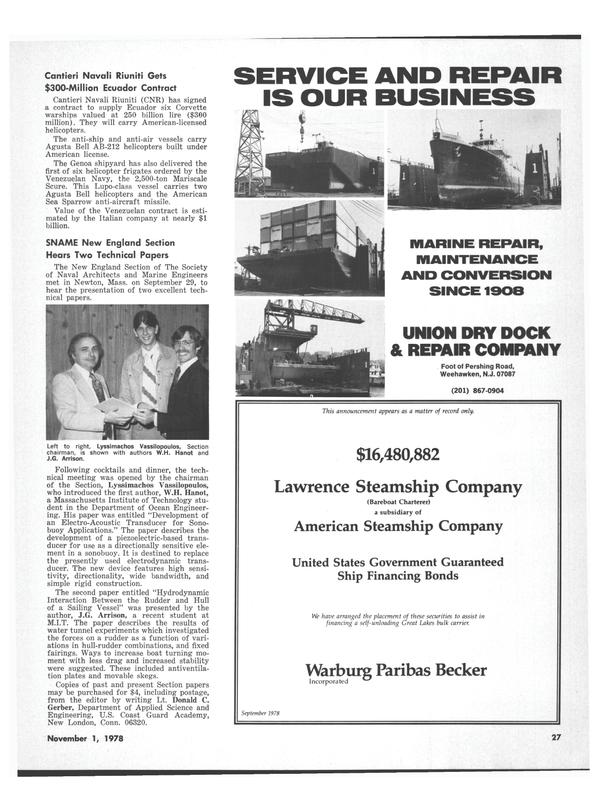 Maritime Reporter Magazine, page 29,  Nov 1978