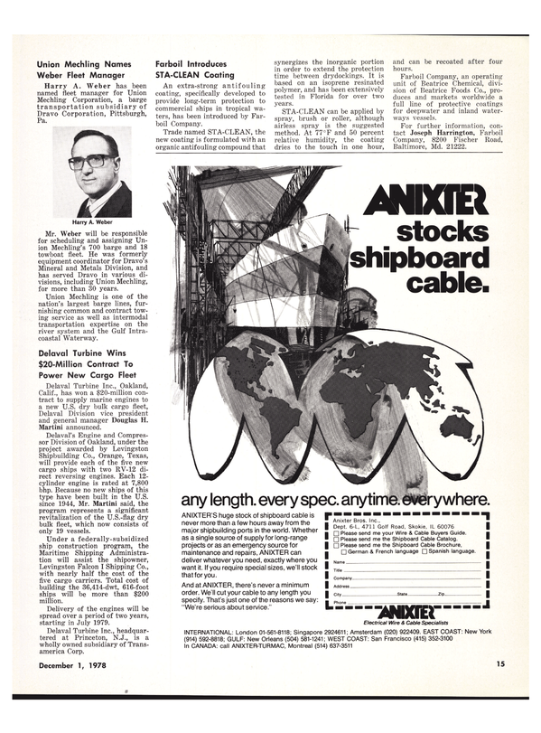 Maritime Reporter Magazine, page 15,  Dec 1978