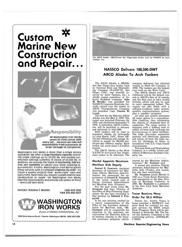 Maritime Reporter Magazine, page 12,  Feb 1980