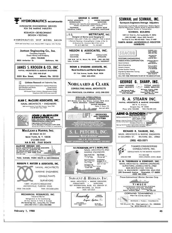 Maritime Reporter Magazine, page 39,  Feb 1980