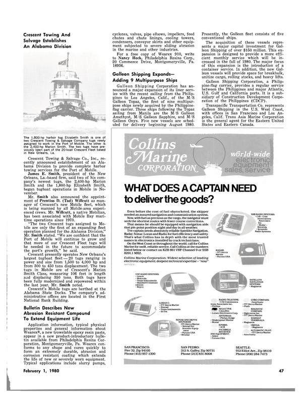 Maritime Reporter Magazine, page 41,  Feb 1980
