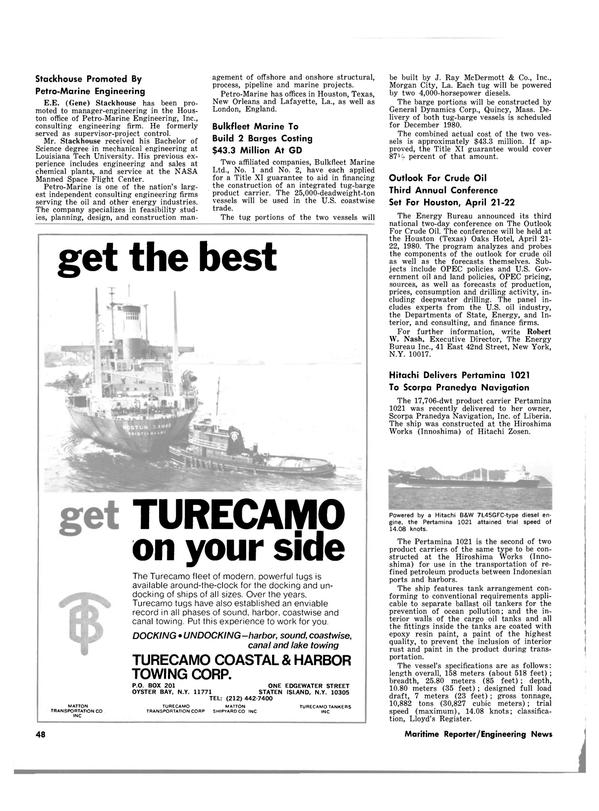 Maritime Reporter Magazine, page 42,  Feb 1980