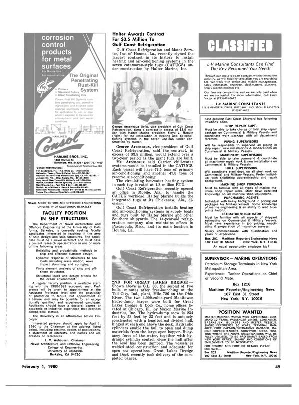 Maritime Reporter Magazine, page 43,  Feb 1980