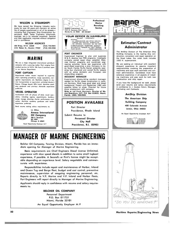 Maritime Reporter Magazine, page 46,  Feb 1980