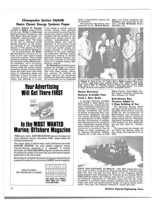 Maritime Reporter Magazine, page 20,  Feb 15, 1980