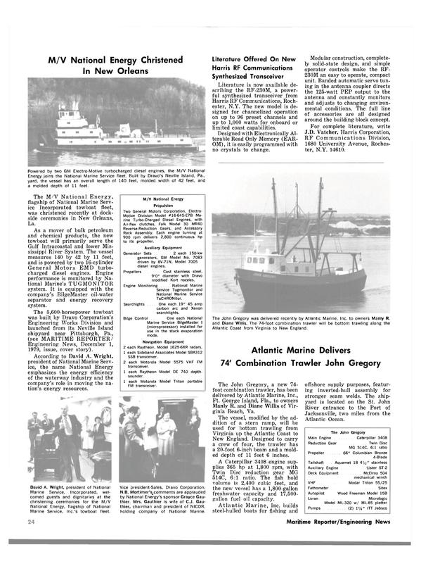 Maritime Reporter Magazine, page 24,  Feb 15, 1980