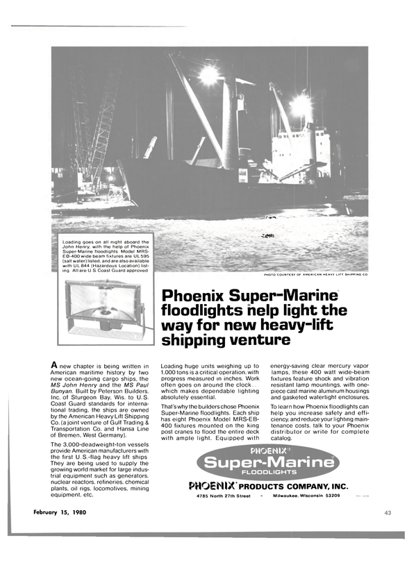 Maritime Reporter Magazine, page 41,  Feb 15, 1980