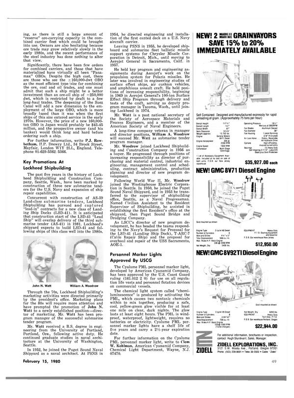 Maritime Reporter Magazine, page 47,  Feb 15, 1980
