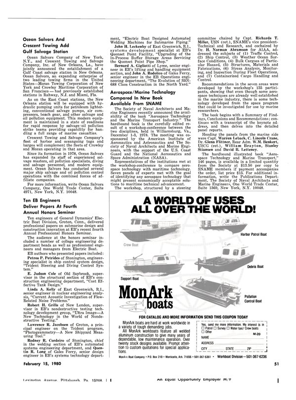 Maritime Reporter Magazine, page 49,  Feb 15, 1980