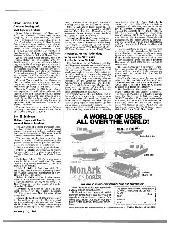 Maritime Reporter Magazine, page 51,  Feb 15, 1980