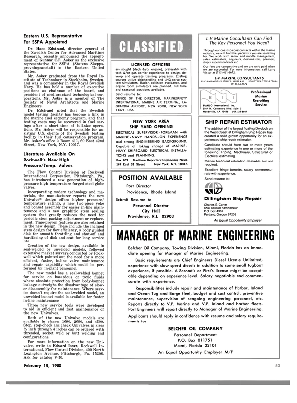 Maritime Reporter Magazine, page 53,  Feb 15, 1980