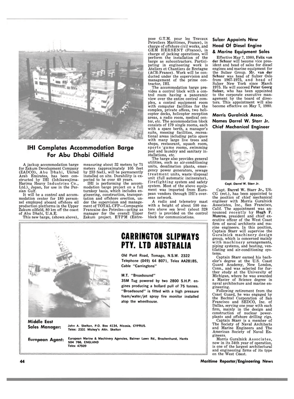 Maritime Reporter Magazine, page 38,  Mar 15, 1980