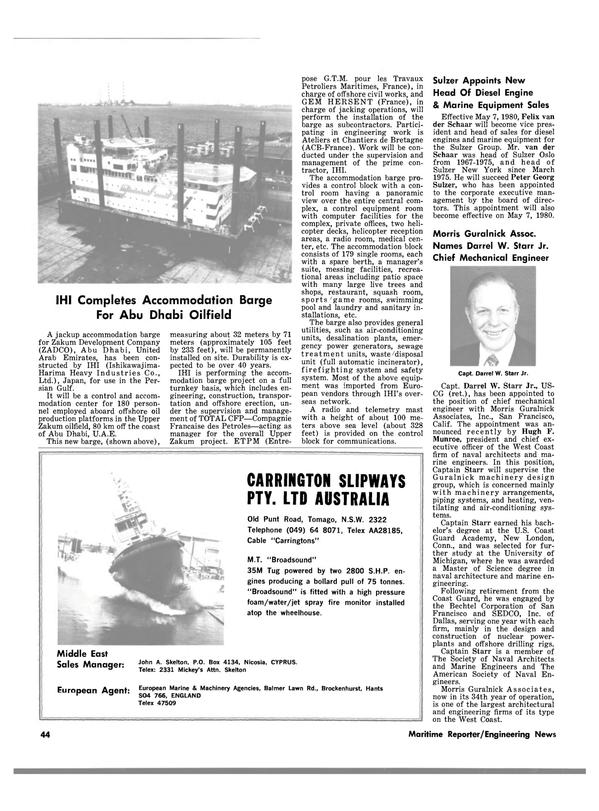 Maritime Reporter Magazine, page 38,  Mar 15, 1980 California